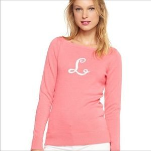 Lilly Pulitzer Pink Initial L Sweater Small